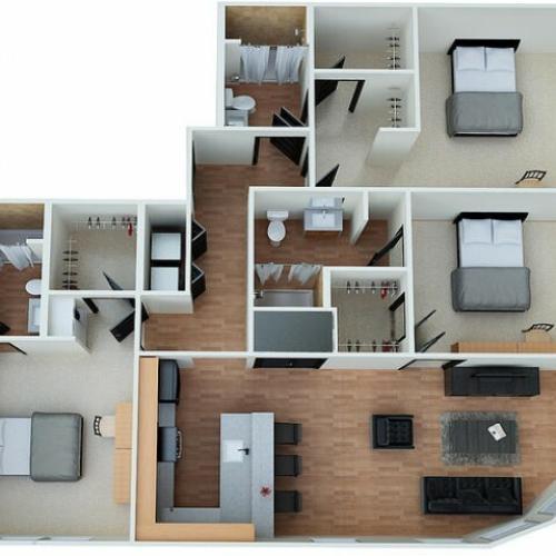 C1 - 3 Bedroom 3 Bathroom Floorplan Eclipse on Madison