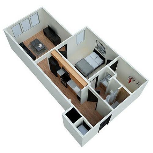 A2 - One Bedroom One Bathroom Floorplan Eclipse on Madison