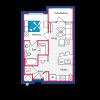 1 Bedroom, 1 Bath Floor Plan (A1)