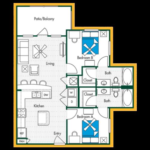 2 Bedroom, 2 Bath (B1) Floor Plan Layout