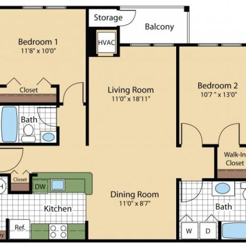 2 Bedroom Floor Plan | Apartments For Rent Frederick MD | Reserve at Ballenger Creek