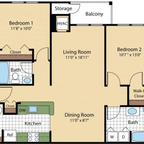 2 Bdrm Floor Plan | Frederick MD Apartments | Reserve at Ballenger Creek