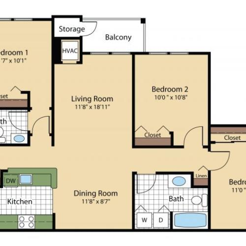 3 Bedroom Floor Plan | Apartments In Frederick MD | Reserve at Ballenger Creek