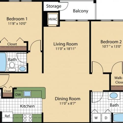 Floor Plan 4 | Luxury Apartments In Frederick MD | Reserve at Ballenger Creek