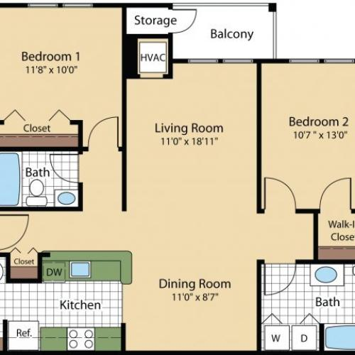 Floor Plan 7 | Frederick MD Apartments | Reserve at Ballenger Creek