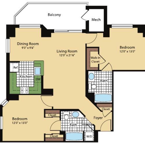Floor Plan 5 | Meridian at Pentagon City