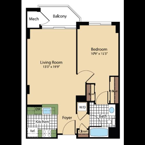Floor Plan 15 | Meridian at Pentagon City
