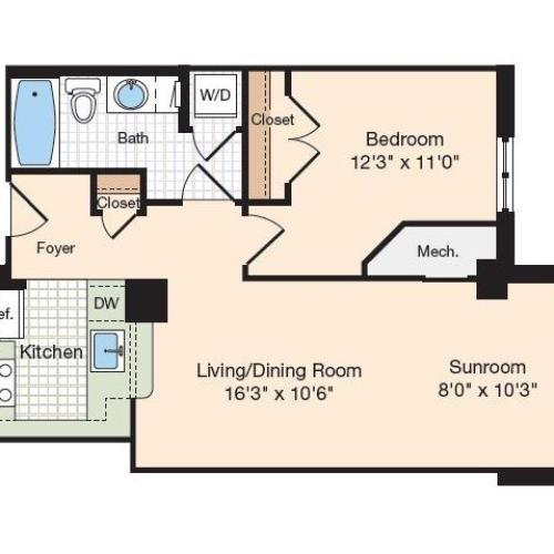 Floor Plan 28 | Old Town Alexandria Apartments | Meridian at Eisenhower Station