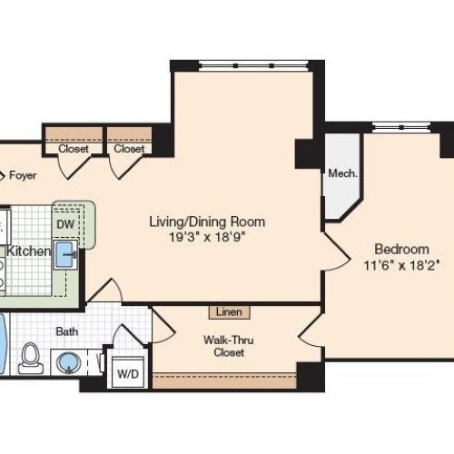 Floor Plan 34 | Old Town Alexandria Apartments | Meridian at Eisenhower Station