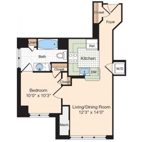 Floor Plan 1 | Apartments Near Alexandria VA | Meridian at Eisenhower Station