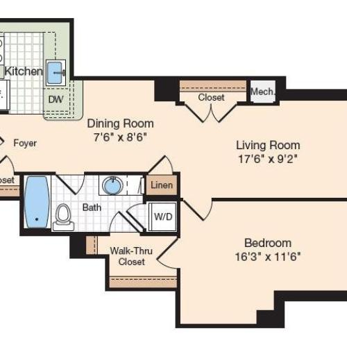 Floor Plan 40 | Old Town Alexandria Apartments | Meridian at Eisenhower Station