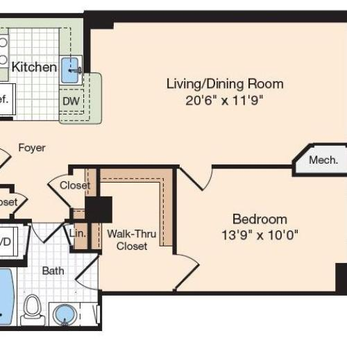 Floor Plan 30 | Old Town Alexandria Apartments | Meridian at Eisenhower Station
