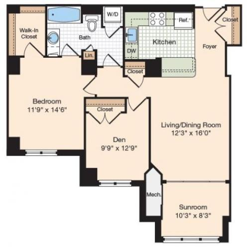 Floor Plan 3 | Apartments In Alexandria Virginia | Meridian at Eisenhower Station