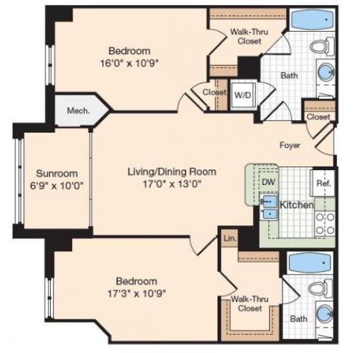 Floor Plan 23 | Old Town Alexandria Apartments | Meridian at Eisenhower Station