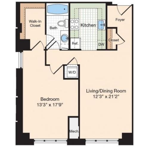 Floor Plan 44 | Old Town Alexandria Apartments | Meridian at Eisenhower Station