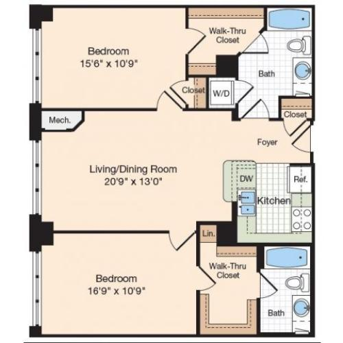 Floor Plan 22 | Old Town Alexandria Apartments | Meridian at Eisenhower Station