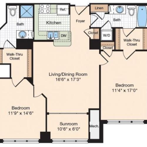 Floor Plan 10 | Old Town Alexandria Apartments | Meridian at Eisenhower Station