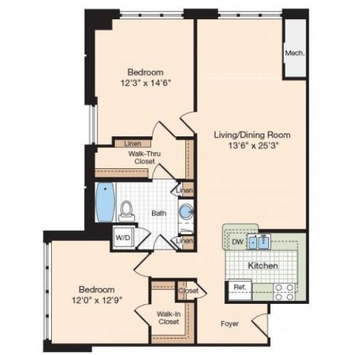 Floor Plan 25 | Old Town Alexandria Apartments | Meridian at Eisenhower Station