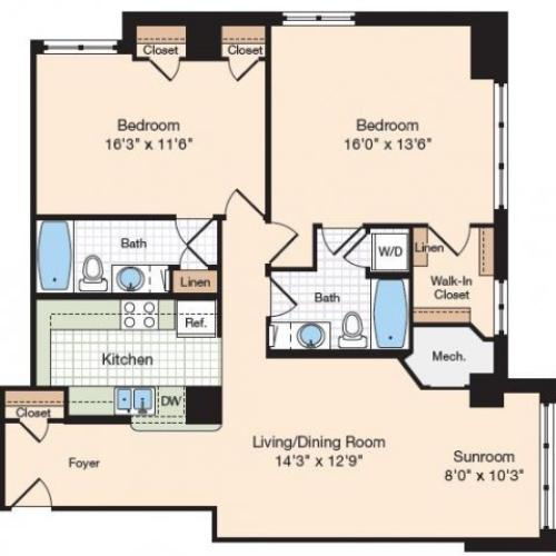 Floor Plan 21 | Old Town Alexandria Apartments | Meridian at Eisenhower Station