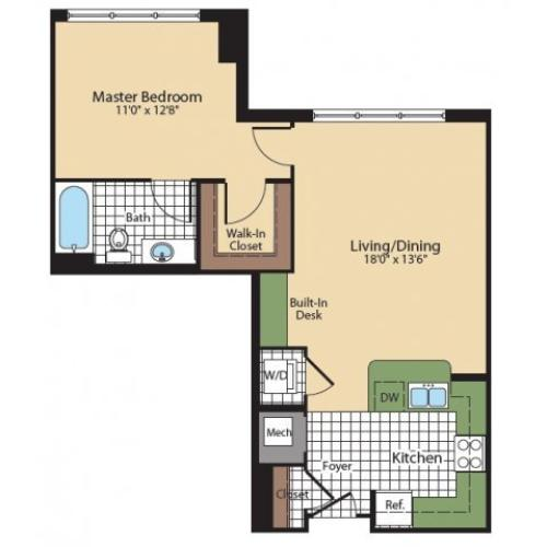 1 Bedroom Floor Plan | North Bethesda Luxury Apartments | Meridian at Grosvenor Station