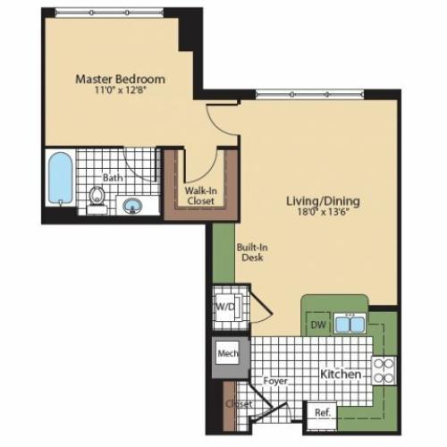 1 Bedroom Floor Plan | North Bethesda Luxury Apartments | Meridian at Grosvenor Station