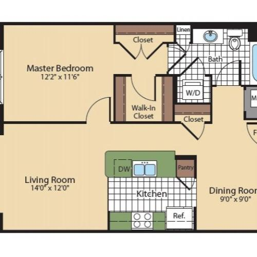 Floor Plan 4 | North Bethesda Luxury Apartments | Meridian at Grosvenor Station