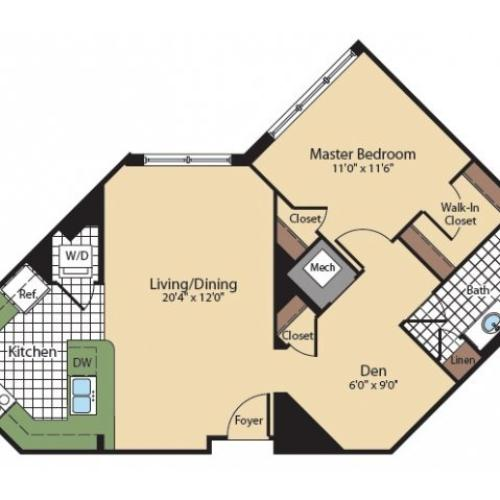 Floor Plan 5 | North Bethesda Apartments | Meridian at Grosvenor Station