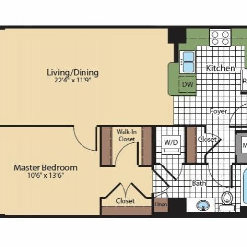 Floor Plan 6 | Apartments In North Bethesda | Meridian at Grosvenor Station