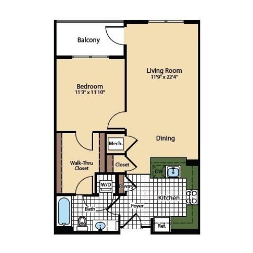 1 Bedroom Floor Plan | The Madison at Ballston Station