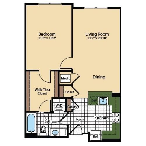 1 Bedroom Floor Plan | The Madison at Ballston Station 2