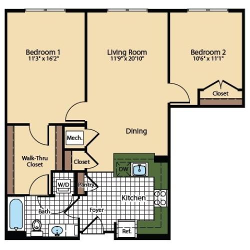 2 Bedroom Floor Plan | The Madison at Ballston Station