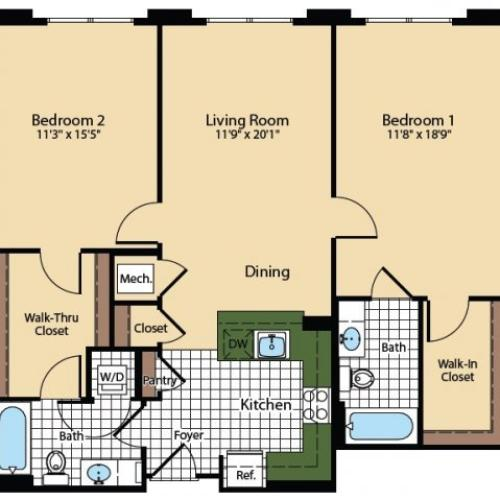 Floor Plan 2 | The Madison at Ballston Station