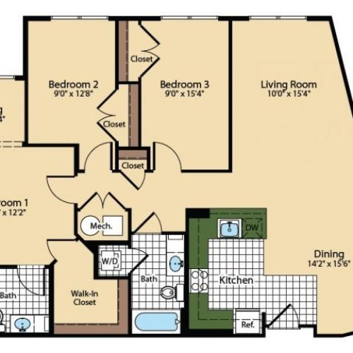 3 Bedroom Floor Plan | The Madison at Ballston Station