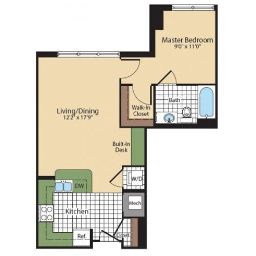 1 Bdrm Floor Plan | North Bethesda Apartments | Meridian at Grosvenor Station