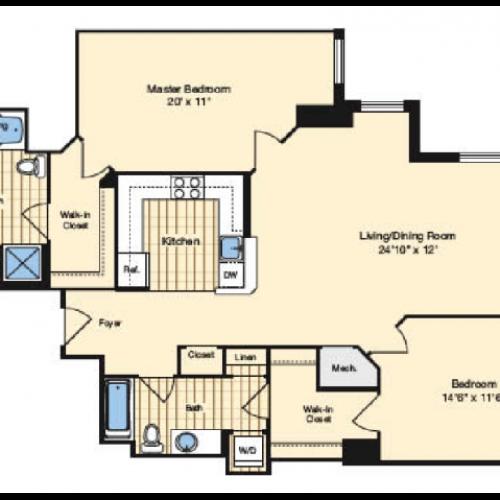 2 Bdrm Floor Plan | Apartments In Alexandria VA | Carlyle Place