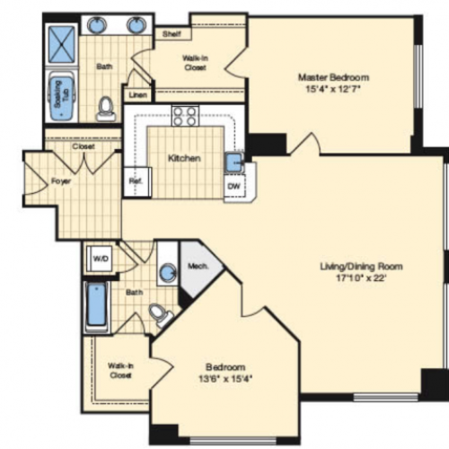 2 Bdrm Floor Plan 1 | Apartments In Alexandria VA | Carlyle Place