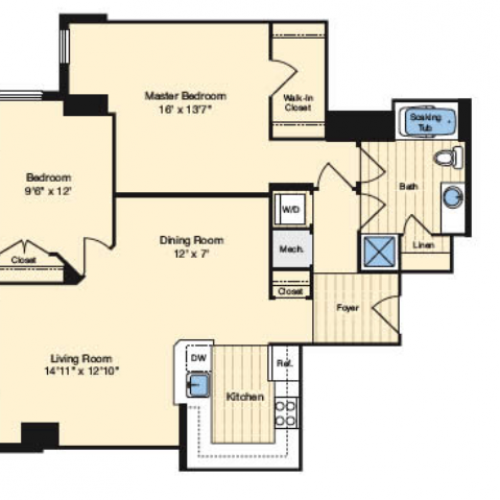2 Bedroom Floor Plan | Alexandria VA Luxury Apartments | Carlyle Place