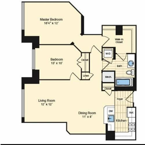 2 Bdrm Floor Plan | Apartments In Alexandria VA 2 | Carlyle Place