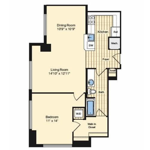 1 Bedroom Floor Plan 1 | Luxury Apartments Alexandria VA | Carlyle Place