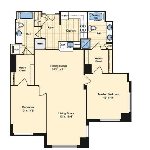 2 Bdrm Floor Plan | Apartments In Alexandria VA 5 | Carlyle Place