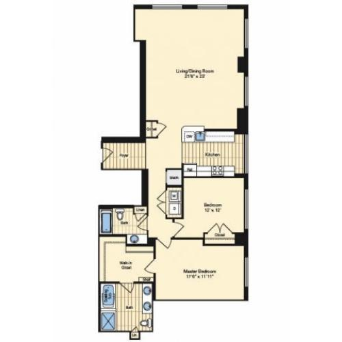 2 Bdrm Floor Plan | Apartments In Alexandria VA 3 | Carlyle Place