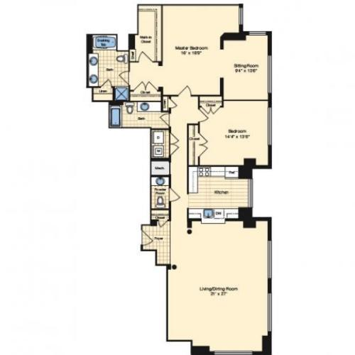 2 Bdrm Floor Plan | Apartments In Alexandria VA 4 | Carlyle Place