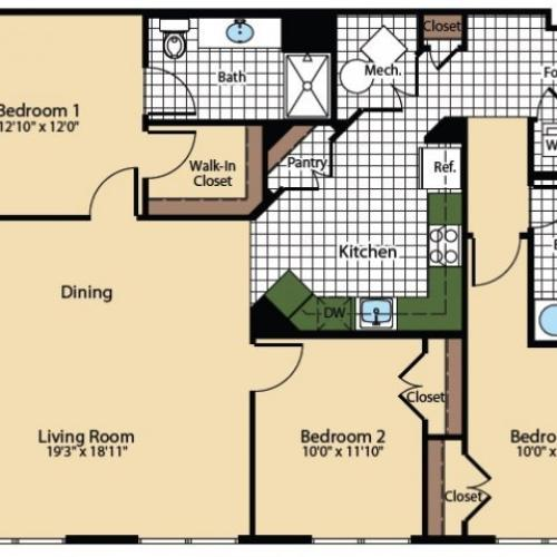 3 Bedroom Floor Plan | The Madison at Ballston Station 2