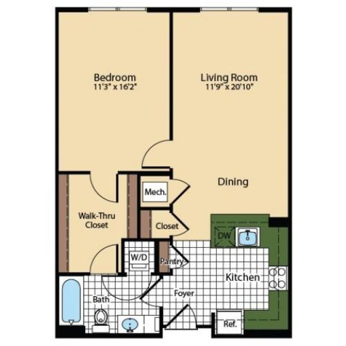1 Bedroom Floor Plan | The Madison at Ballston Station 3