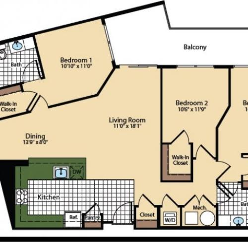 3 Bedroom Floor Plan | The Madison at Ballston Station 3