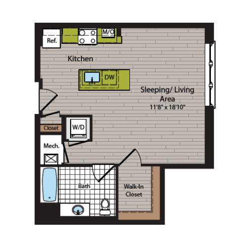 Studio Floor Plan | Washington DC Apartment For Rent | 360H Street 2
