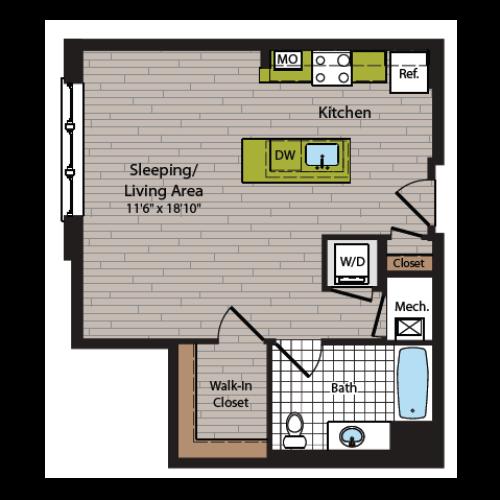 Studio Floor Plan | Washington DC Apartment For Rent | 360H Street 4