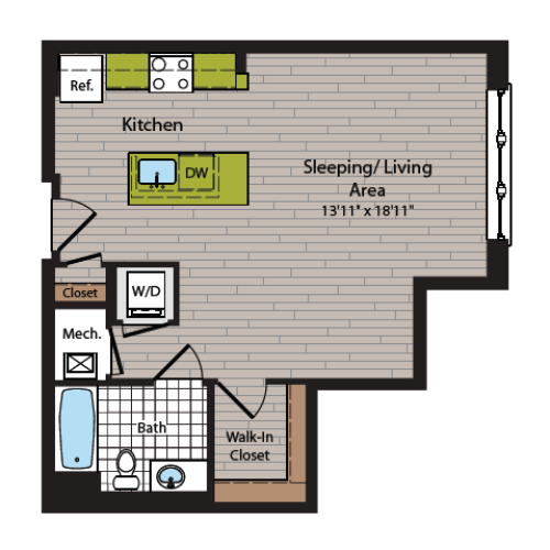 Studio Floor Plan | Washington DC Apartment For Rent | 360H Street 5