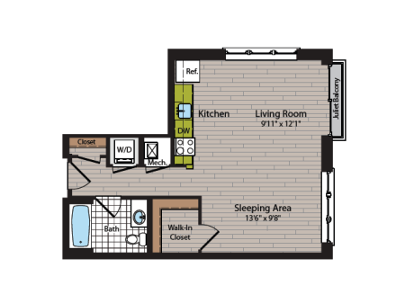Studio Floor Plan | Washington DC Apartment For Rent | 360H Street 6
