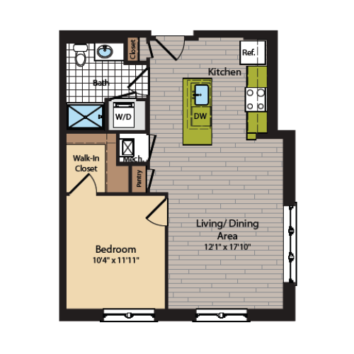 1 Bedroom Floor Plan | Washington DC Apartments | 360H Street